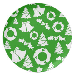 Green and White Christmas Winter Holiday Gifts Dinner Plate