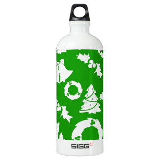 Green and White Christmas Winter Holiday SIGG Traveler 1.0L Water Bottle