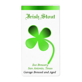 Green and White Clover Home Made Beer Labels