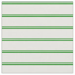 [ Thumbnail: Green and White Colored Lined/Striped Pattern Fabric ]