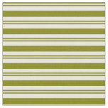 [ Thumbnail: Green and White Colored Lines Pattern Fabric ]
