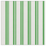 [ Thumbnail: Green and White Colored Pattern of Stripes Fabric ]