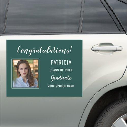 Green And White Congratulation Photo Graduation Car Magnet