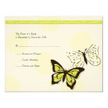 Green and White Cool Butterfly Wedding RSVP Custom Announcements