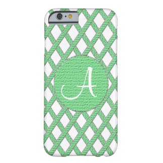 Green and white crisscross monogram cell phone cas barely there iPhone 6 case