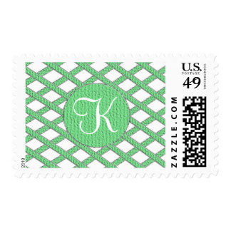 Green and white crisscross monogram stamps