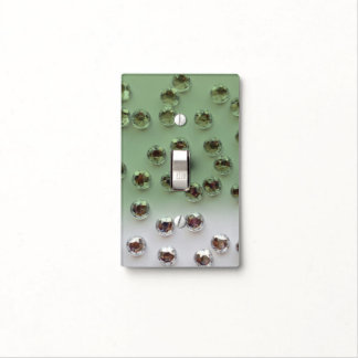 GREEN AND WHITE CRYSTALS SINGLE TOGGLE SWITCH LIGHT SWITCH COVER