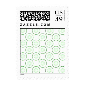 Green and White Cucumber Pattern. Postage Stamp
