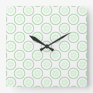 Green and White Cucumber Pattern. Square Wall Clock