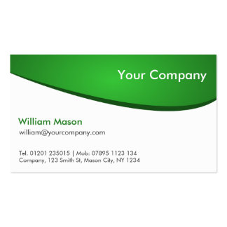 Green and White Curved Professional Business Card