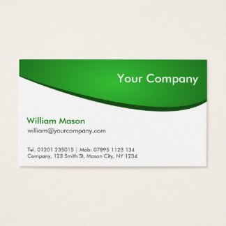 Green and White Curved, Professional Business Card
