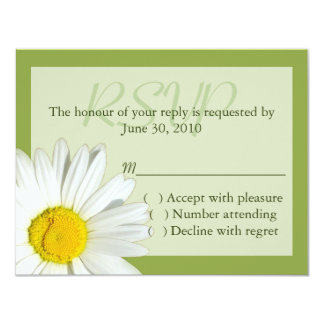 Green and  White Daisy Wedding RSVP Card