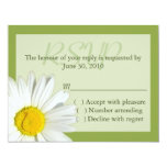 Green and  White Daisy Wedding RSVP Card Announcement