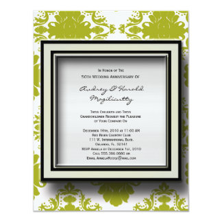 Green and White Damask Anniversary Party Invitatio Invitation