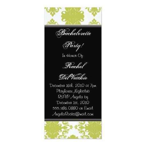 Green and White Damask Bachelorette Party Invitati Personalized Invitation