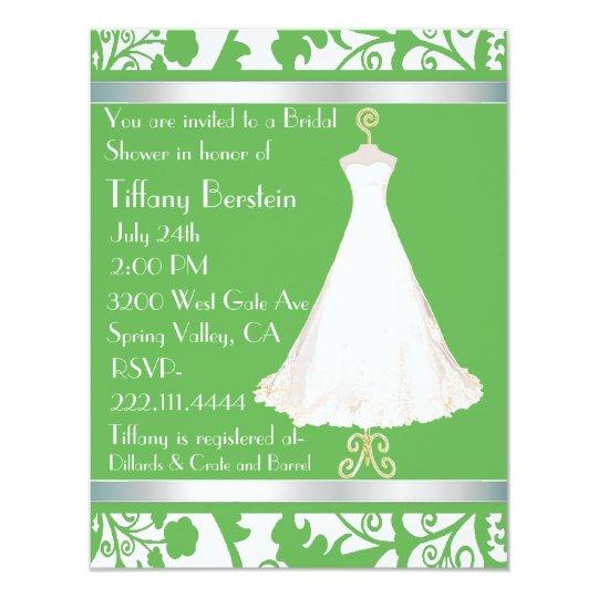Green and White Damask Bridal Shower Invitation