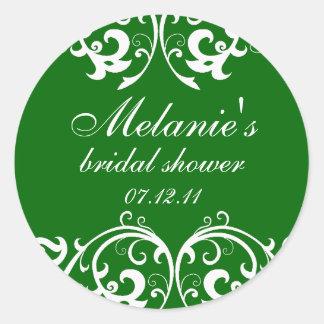 Green and White Damask Bridal Shower Sticker