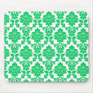 Green and White Damask Mouse Pad