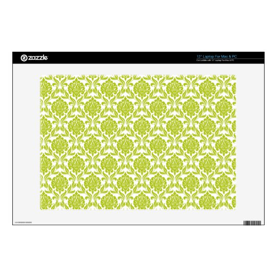 Green and White Damask Pattern Laptop Decals