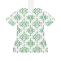 Green and White Damask Pattern Ornament
