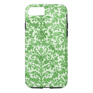 Green and White Damask Wallpaper Pattern iPhone 7 Case