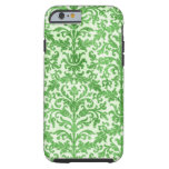 Green and White Damask Wallpaper Pattern iPhone 6 Case