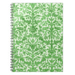 Green and White Damask Wallpaper Pattern Note Books