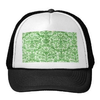 Green and White Damask Wallpaper Pattern Trucker Hat