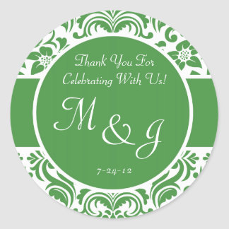 Green and White Damask Wedding Favor Labels Round Sticker