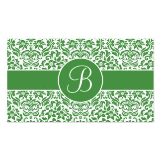 Green and White Damask Wedding Gift Registry Cards Business Card Templates