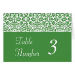 Green and White Damask Wedding Table Number Cards Card