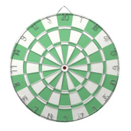 Green And White Dartboard With Darts