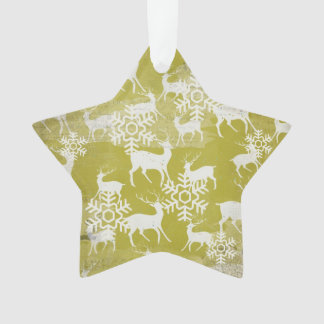 Green and White Deer Star Acrylic Ornament
