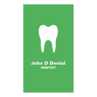 Green and white dental dentist  business card