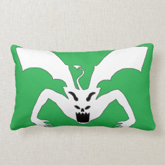 Green And White Devil Lumbar Pillow