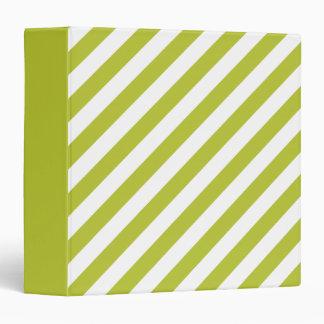 Green and White Diagonal Stripes Pattern 3 Ring Binder
