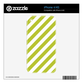 Green and White Diagonal Stripes Pattern Decals For iPhone 4