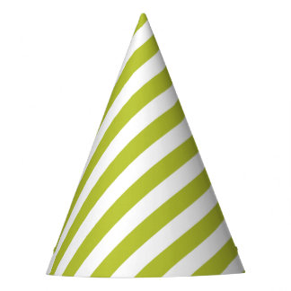 Green and White Diagonal Stripes Pattern Party Hat