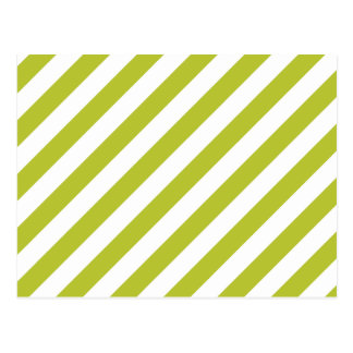 Green and White Diagonal Stripes Pattern Postcard