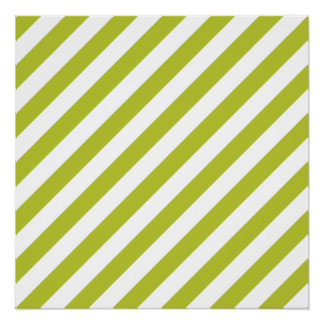 Green and White Diagonal Stripes Pattern Poster