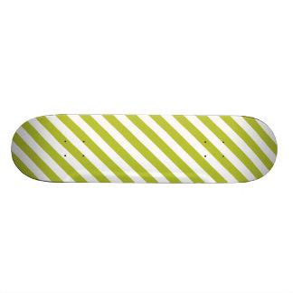 Green and White Diagonal Stripes Pattern Skateboard Deck