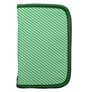 Green and White Diagonal Stripes Planners