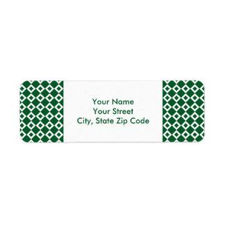 Green and White Diamond Pattern address label