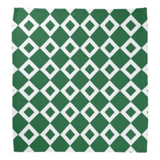 Green and White Diamond Pattern Bandana