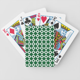 Green and White Diamond Pattern Bicycle Playing Cards