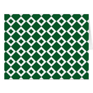Green and White Diamond Pattern Large Greeting Card