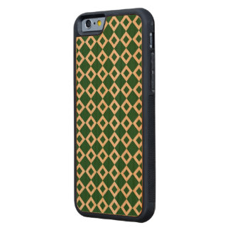 Green and White Diamond Pattern Carved® Cherry iPhone 6 Bumper