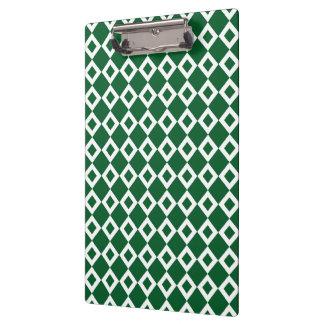 Green and White Diamond Pattern Clipboard