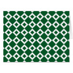 Green and White Diamond Pattern Greeting Cards