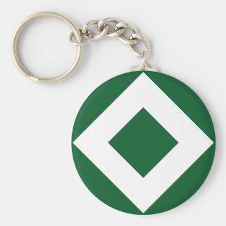 Green and White Diamond Pattern Basic Round Button Keychain